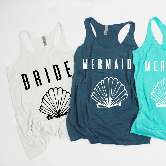 f3ba6c35d7e2 Tops | Bride Bridal Bachelorette Mermaid Girl Squad Shirt | Poshmark